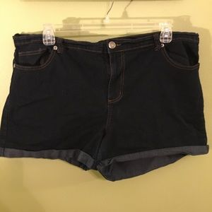 Forever 21 Dark Wash Cuff Shorts